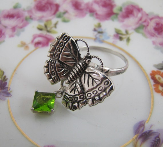 Butterfly Ring- Sterling Silver and Genuine Peridot Ring- Size 8- Vintage Refashioned Upcycled Jewelry, One-of-a-Kind...To a Butterfly