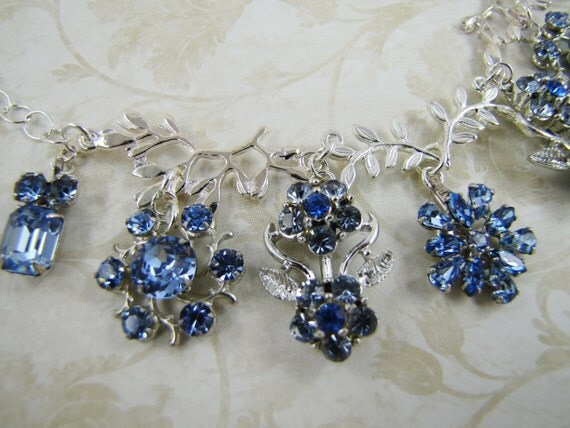 Blue Skies- Vintage refashioned rhinestone and silver necklace- One of a Kind- refashioned jewelry