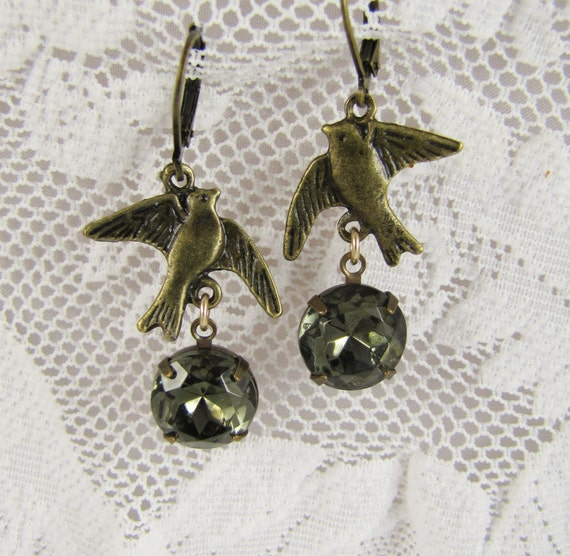 Upcycled Vintage Earrings- Antique brass- Birds- Smoky Green- One of a KInd