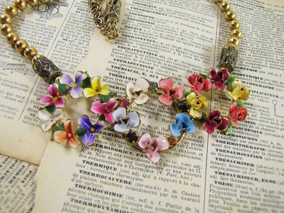 The Three Graces- Vintage Assemblage Statement Necklace- Antique Austrian Enamel Wreaths- One of a Kind- Greek Goddesses
