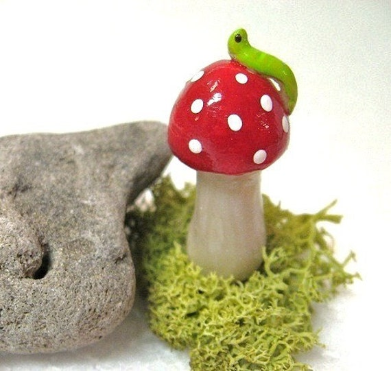 Little Toadstool with Inch Worm,  Great for planters or terrariums