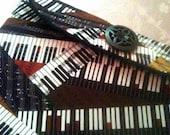 ON SALE - CLOSEOUT eReader Wristlet Nook Kindle Sony BeBook Kobo Piano Keys Print Musical Theme