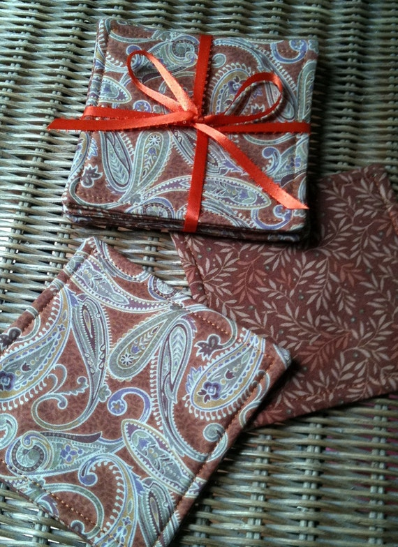 ON SALE - CLOSEOUT Quilted Coffee Mug Rug Reversible Coaster Set Paisley Rust Brown