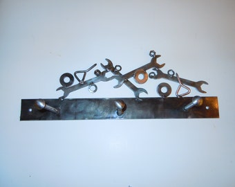 Steam Punk Industrial Coat/Hat Rack From Upcycled Hardware