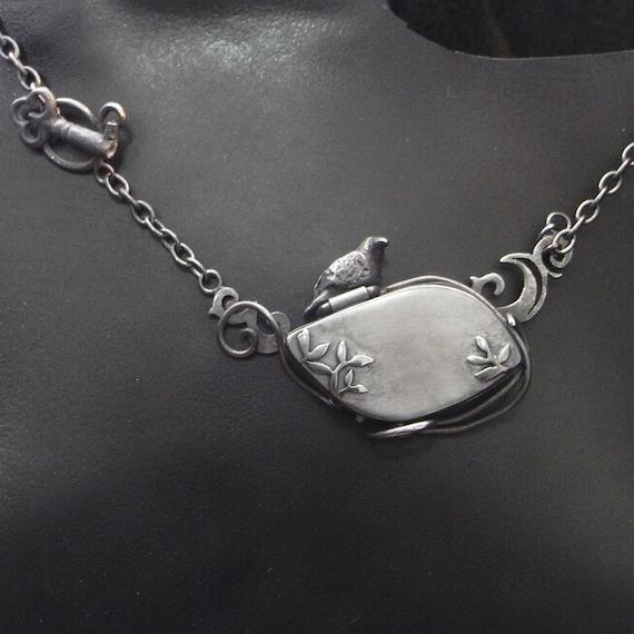 Oxidised Sterling Silver Crow Locket Raven Bird keepsake Goth Key