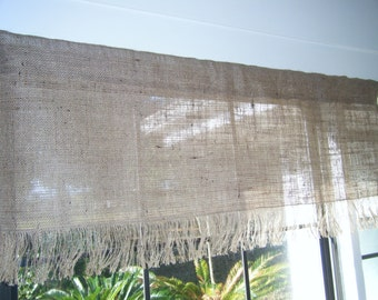 "Burlap Valance with Fringed Bottom, 42""to 120 ""Wide X 16 ""Long,  'The Seminole' by Jackie Dix"