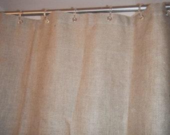 """Burlap Shower Curtain, 6 colors,  72"""" wide X 72""""- 96"""" long, Grommet Top, free jute tieback by Jackie Dix"""