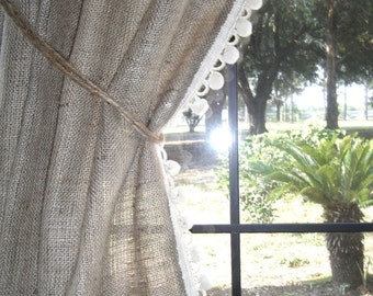 "Burlap Curtain with Pom Fringe, 'THE COUNTRY CURTAIN'  with Pom Fringe, 38"" wide x 36"" - 96"" long by Jackie Dix"