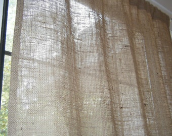"Burlap Curtain with free Jute Tieback, 38"" Wide X 48"" Long-96"" Long, 'The BEACHCOMBER CURTAIN'  by Jackie Dix"
