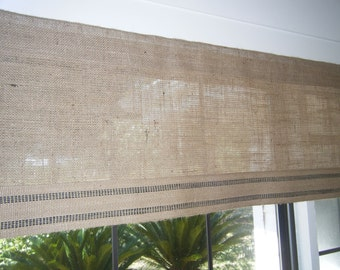 "Burlap Window Valance with Striped Jute Band,  42"" - 84"" Wide X 16""Long, 'The Daytona' by Jackie Dix"