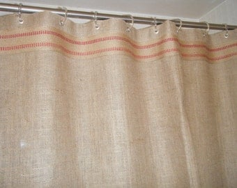 """Burlap Shower Curtain, 72 wide X 72""""- 96"""" long, Grommet Top with Red Striped Jute Band, 'The Daytona Red' by Jackie Dix"""