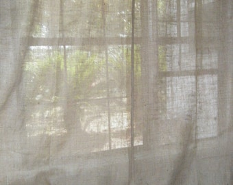 """Burlap Double Curtain Panel with Jute Tieback, 75""""wide  X 36""""- 96"""" long, 'The BEACHCOMBER DOUBLE ' by Jackie Dix"""