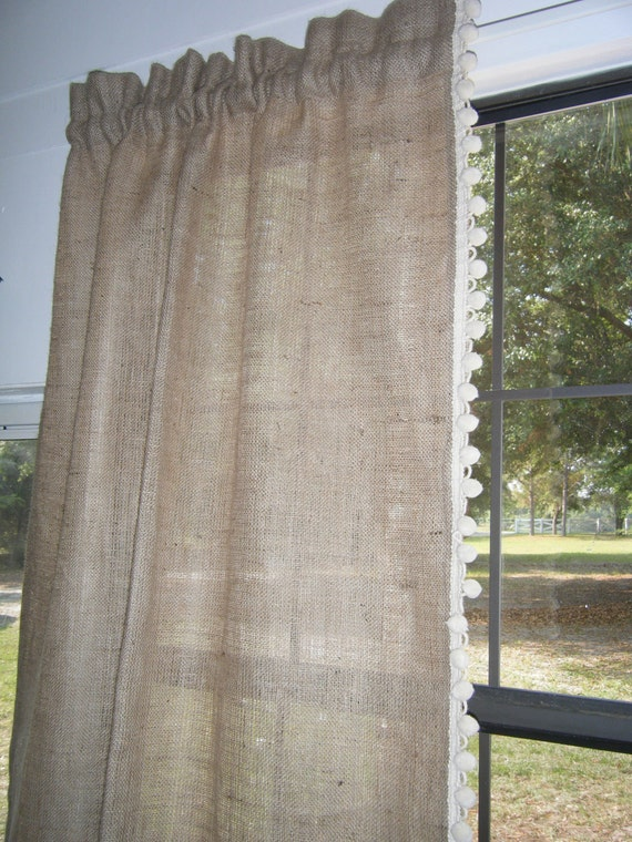 Burlap Curtain With Pom Fringe The Country By