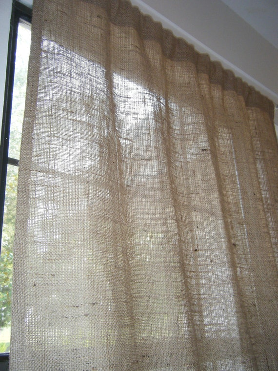 "Burlap Curtain with free Jute Tieback, 38"" Wide X 48"" Long-144"" Long, 'The BEACHCOMBER CURTAIN'  by Jackie Dix"