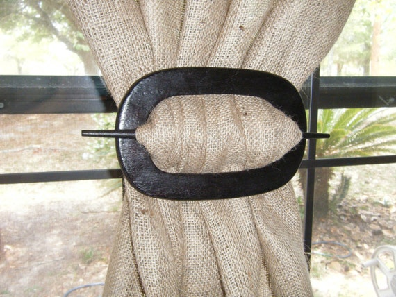 Curtain Holdback ,Wooden Oval,  'Espresso' Black Stained at Curtains by Jackie Dix