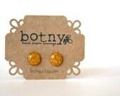 Warm Honey and Burnt Umber Geometric Honeycomb Brook Earrings