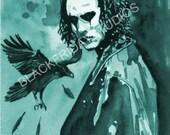 Aceo The Crow Teal Art Card Fan Art Print
