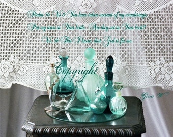 Vintage Perfume Bottles, Turqouise Home Decor, Inspirational Scripture, Psalm 56 vs8, Giclee, Gift under 25 USD