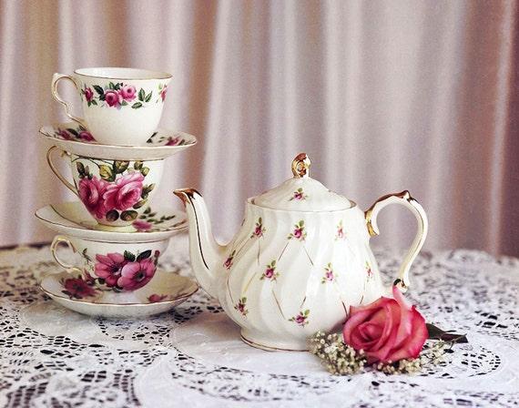 Teapot Teacups Roses, fine art print, pink home decor, photograph, tea art print, kitchen wall decor, dining room decor, gina waltersdorf