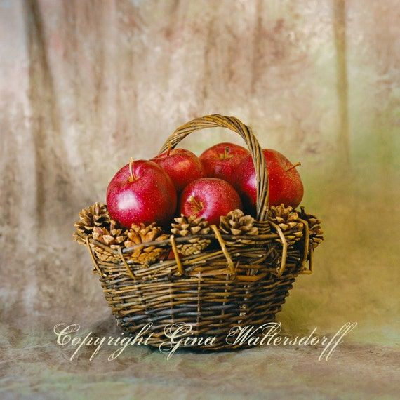 Basket Red Apples, fine art photography, pinecones,  basket art,  brown wall decor, home wall decor, window light, red decor, fruit, kitchen
