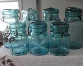 Vintage Aqua Canning jars