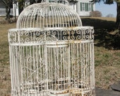 Reserved for Kristi Vintage white Iron bird cage