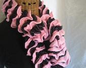 Hand Knit Black and Pink frilly ruffle girls kids women's fall winter scarf fashion accessory