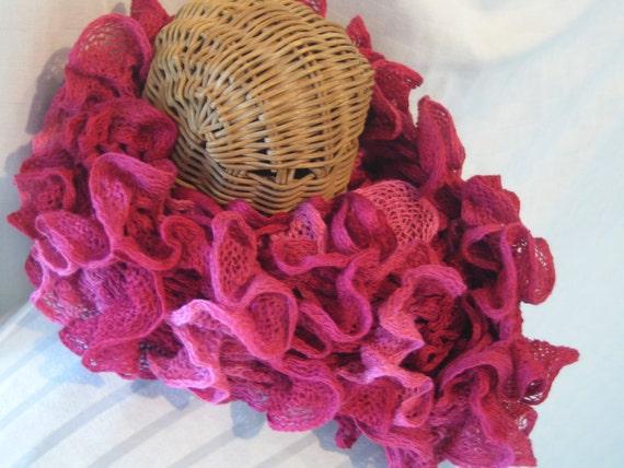Hand Knit Women's Maroon Crimson ruffle neck scarf accessory winter fashion