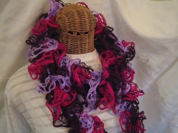 50% off Sale Hand Knit Fuchsia Lilac Maroon flamenco frilly loopy Spring ruffle scarf  for women