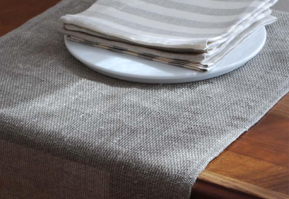 Linen Soft Burlap Runner Natural Grey Size 180cm X 64cm