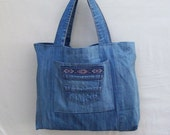 Peru Gal - large blue denim tote with Inka pattern border, handmade from recycled jeans