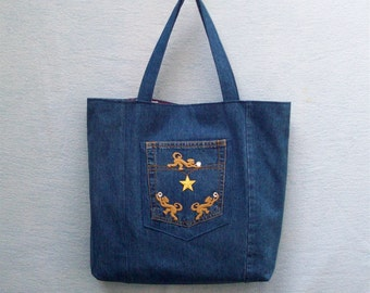 Gold star and Monkeys with Crystals - large denim tote with decoration, handmade from recycled jeans