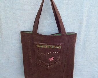 Chocolate Brown with pink Butterfly, denim tote, handmade from recycled jeans