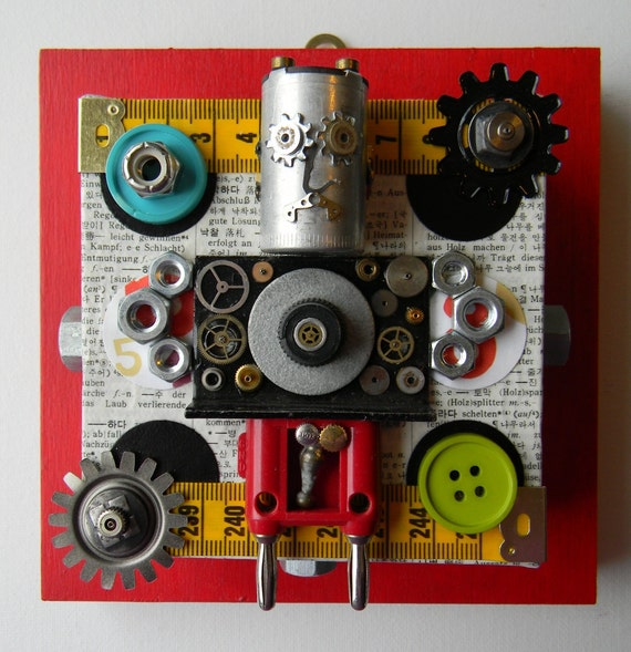 "SALE-Recycled Art Collage  -   ""AC Bot (Anatomically Correct)""   -  Original Mixed Media"
