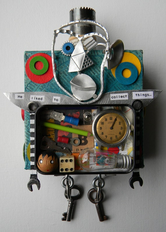 """Recycled Art Collage   -    """"King of Collectibles""""   -  Original Mixed Media"""