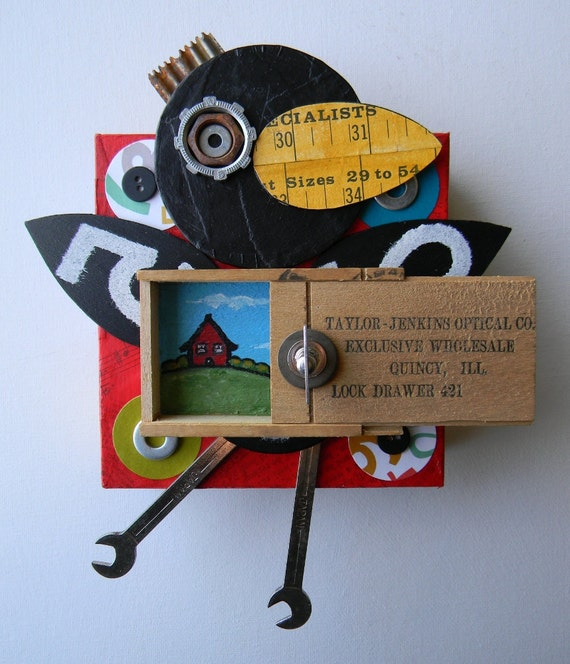 "Recycled Art Collage  -   ""Crow with box""   -   Original Mixed Media"