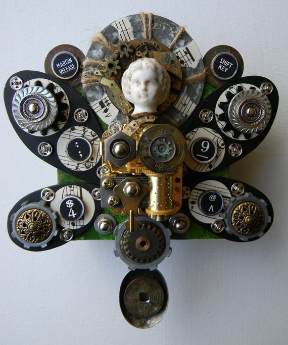 """Recycled Art Collage   -   """"Angel of Music, Metal and Money""""   -  Original Mixed Media"""
