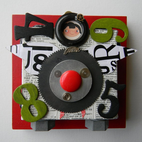 "Recycled Art Collage   -   ""Mod Girl""   -   Original Mixed Media"