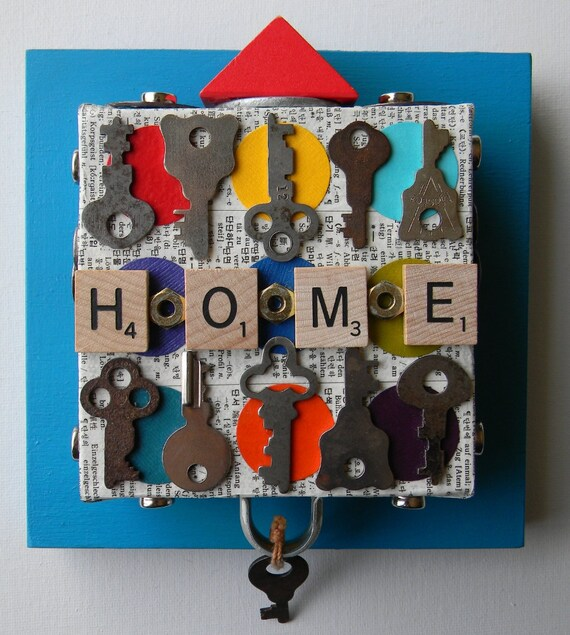 """SALE-Recycled Art Collage   -  """"Home/Keys""""   -   Original Mixed Media"""