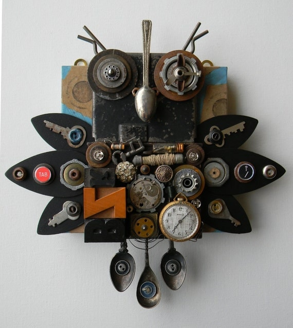 "Recycled Art Collage   -   ""Metal Owl""   -  Original Mixed Media"
