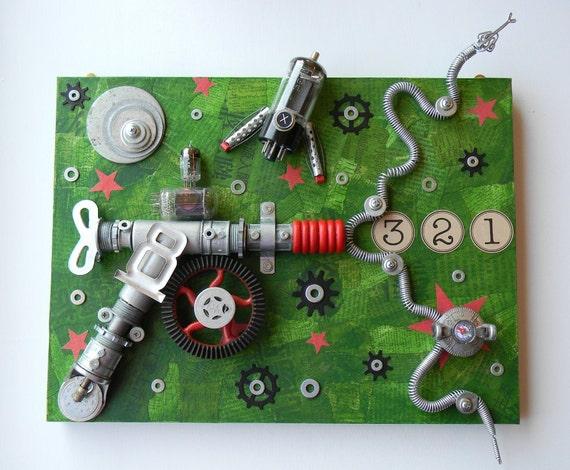 "Recycled Art Collage   -  ""Zap Gun-3,2,1""   -   Original Mixed Media"