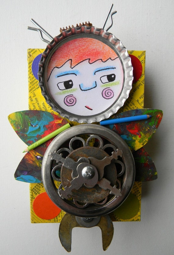 """Recycled Art Collage   -  """"She was a little nervous...""""   -   Original Mixed Media"""