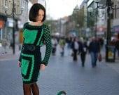 """Crochet dress, green and black dress, crochet cotton dress, crochet squares dress, """"An unexpected meeting"""" dress"""