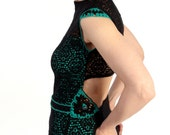 Black green dress, lace dress, lace jersey dress, open back dress, dress with crochet motifs, crochet details dress, OOAK eco friendly