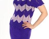 Knitted dress, crochet dress,  lilac purple dress, chevron dress,  open back dress, short sleeved dress, striped dress, unique dress