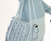 "Knitted crochet bag ""Happy day"" light blue medium everyday use OOAK eco friendly"