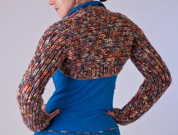 """Knitted shrug """"hug me"""" multicolored OOAK repurposed eco friendly long sleeves"""