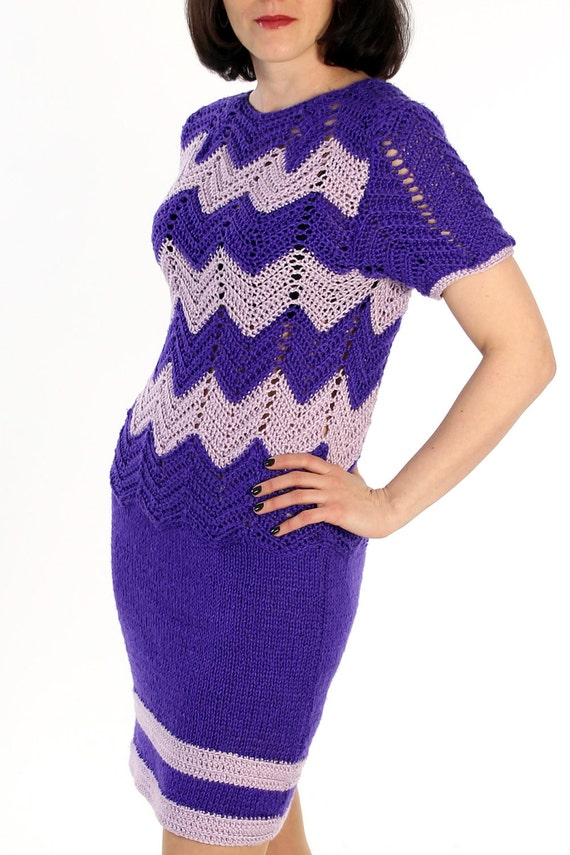 Violet Dress Knitting Pattern : Knitted dress crochet dress lilac purple dress by velgacode