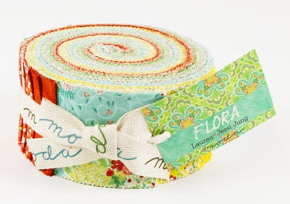 Flora Jelly Roll by Lauren and Jessi Jung for Moda 40 2.5 inch Precut Fabric Strips