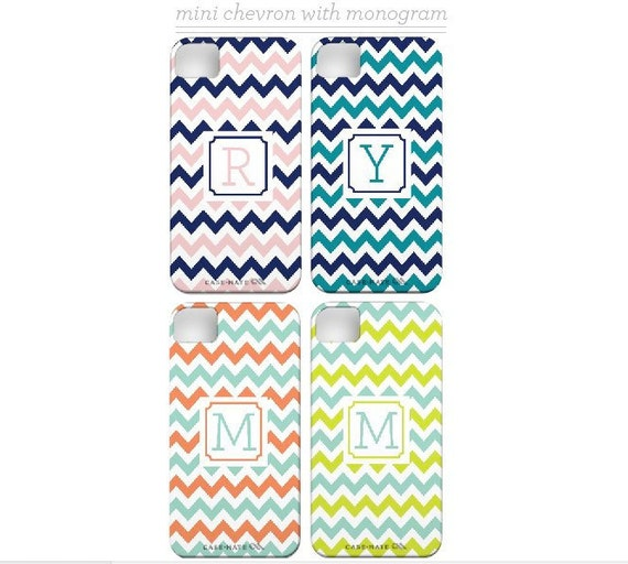 Personalized iPhone 5 Case with Monogram/Initial -  Mini Chevron/ZigZag